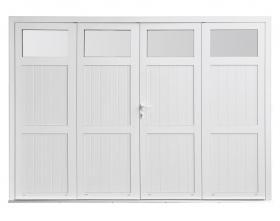 Porte de garage Symbioz'A 4 vantaux avec vitres sur hauteur