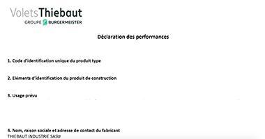 Déclaration des performances  Volets Dauphinois 59mm