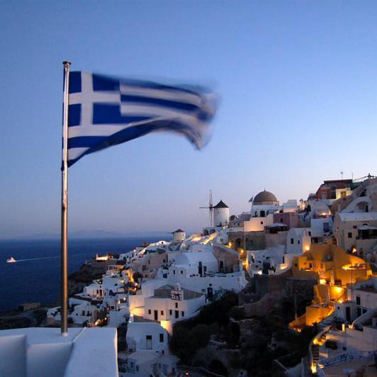 La Grèce et ses volets bleus